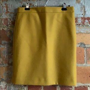 J. Crew Ochre Pencil Skirt